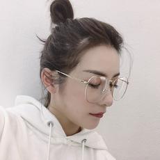 【王柳雯】街拍大脸显瘦眼镜框女复古金属圆平光眼镜可配近视镜片
