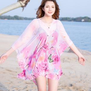 夏季女开衫披肩雪纺开车防晒神器斗篷带扣围巾旅游罩衣百变丝巾