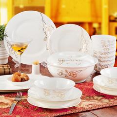 餐具套装56头正宗骨瓷韩式盘子景德镇陶瓷器碗结婚送礼品特价包邮
