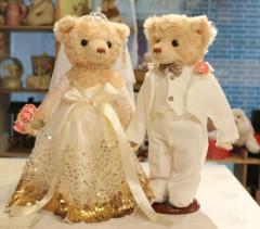 林海博婚纱结婚泰迪熊熊情侣对熊 毛绒公仔婚庆婚车压床娃娃礼物