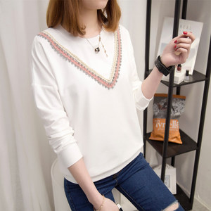 长袖t恤女韩版宽松百搭立体装饰圆领春款体恤衫纯色长袖上衣潮