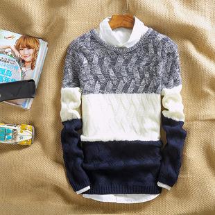 男士圆领毛衣套头针织衫青少年韩版修身撞色春秋季毛衣线衫男装潮