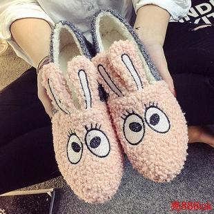 韩版秋冬卡通兔子熊猫鞋孕妇平底单鞋豆豆鞋毛毛鞋棉鞋瓢鞋女鞋