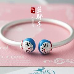 990足银纯银手镯女哆啦A梦儿童宝宝亲子手环可爱新年礼物热卖新品