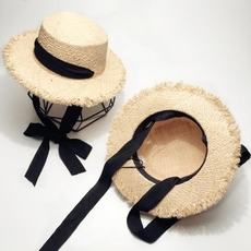 系带绑带蝴蝶结毛边平顶草帽子女夏季韩版拉菲草遮阳帽防晒沙滩帽