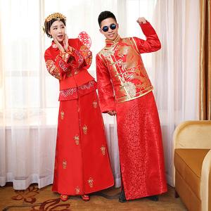 新娘秀禾服敬酒服结婚中式礼服嫁衣龙凤褂新款修身复古装喜服旗袍秀禾服
