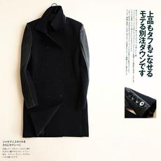 特 腔调货!设计师系 太空棉拼接小羊皮 男中长款羊毛呢大衣C4366