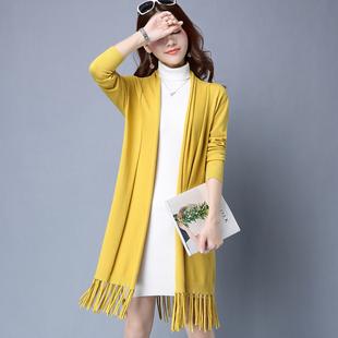 流苏针织衫开衫女中长款外搭春秋薄款女长袖毛衣外套新款宽松披风