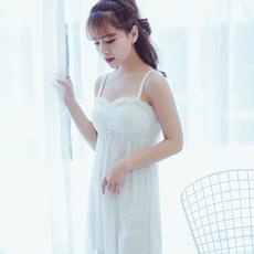 木代尔带胸垫睡衣女夏季韩版性感蕾丝女士夏天情趣吊带睡裙家居服