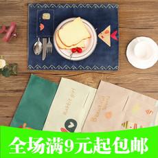 卡通儿童便携餐垫棉麻布艺餐垫可折叠学校餐桌垫防水隔热垫西餐垫