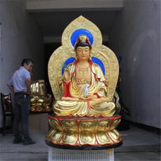 佛教用品 树脂佛像玻璃钢 鎏金彩绘1米3带背光观音菩萨 佛像