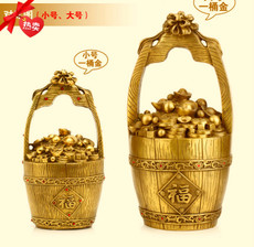 一桶金铜摆件 纯铜一桶金元宝家居装饰品风水招财特色工艺品摆设