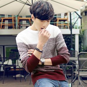男士毛衣秋季韩版圆领长袖套头针织衫线衣薄毛衫冬季男装线衫外套棒球服