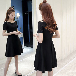 2018夏季新款女装韩版显瘦一字领短袖赫本a字小黑裙吊带连衣裙子