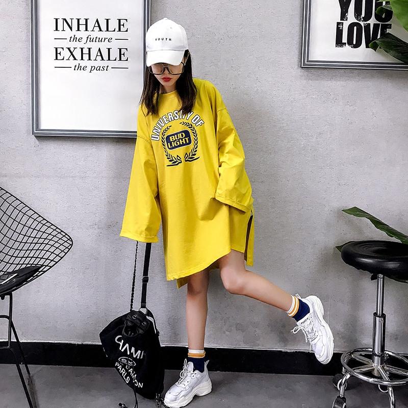 2018春夏韩版字母印花打底衫大码宽松中长款拼色长袖t恤裙女bf