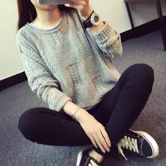 韩版新款女装麻花宽松大码圆领套头秋冬针织衫毛衣外套女学院风潮