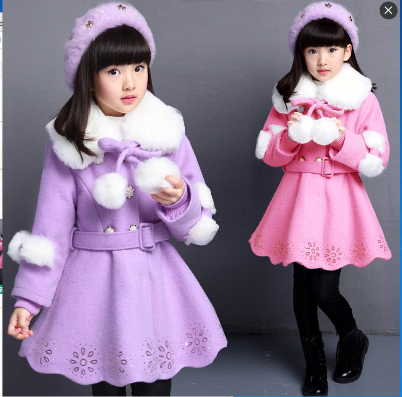 女童毛呢外套2016新款韩版中长款大衣中大童双排扣冬季装儿童呢子女童毛呢大衣