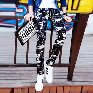 男装休闲裤男生青少年个性非主流裤子韩版小脚裤弹力花裤子潮长裤