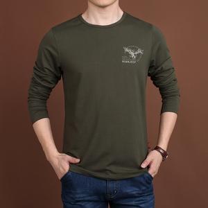 秋季新款男装吉普盾长袖T恤圆领体恤宽松青年纯色男士大码打底衫男士打底衫