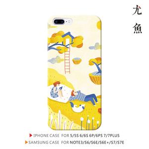 日系黄色个性创意人物插画iphone7 6s 6p三星s6 s7手机壳防摔
