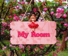 饰品墙壁墙面挂牌个性 红衣小仙女定制房间门牌创意家居装 门牌挂饰