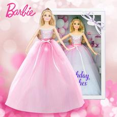 美泰2017新款芭比娃娃 DVP49 生日祝福粉标珍藏版女孩过家家玩具