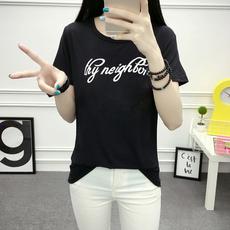 新款韩版短袖t恤女夏季宽松显瘦学生圆领字母印花半袖上衣闺蜜装