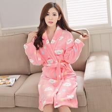 女士加厚加大珊瑚绒睡袍法兰绒可爱卡通浴袍睡衣家居服