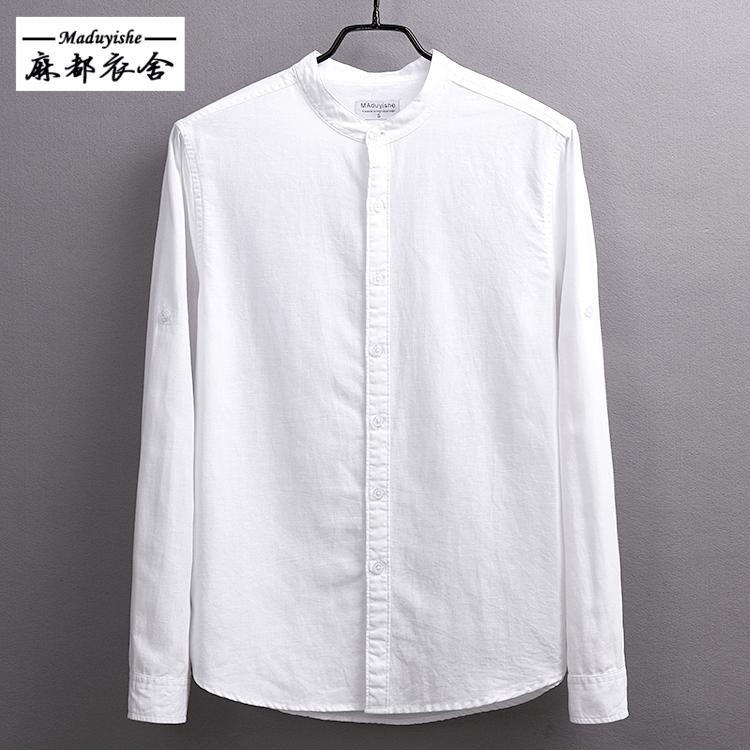 春季长袖圆领亚麻衬衫男休闲透气男士大码棉麻料修身型立领白衬衣男士衬衫