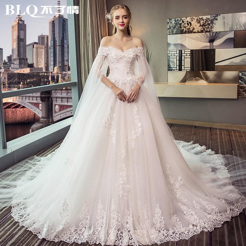 孕妇婚纱礼服2017冬季新款一字肩长拖尾新娘梦幻公主大码高腰婚纱婚纱