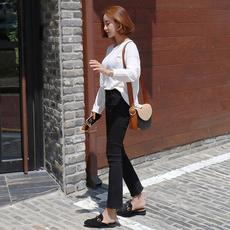 冬季加绒加厚黑色高腰九分牛仔喇叭裤女显瘦弹力阔腿毛边小喇叭裤