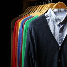 日系复古潮男生V领纯色开衫针织衫 韩版春季小清新毛衣线衫薄外套