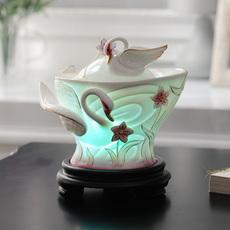 天鹅加湿摆设陶瓷办公室工艺品迷你摆设香薰摆件卧室香薰炉装饰品