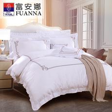 富安娜家纺床上用品全棉缎纹四件套1.8m双人纯色简约单人纯棉套件