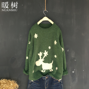 暖树2016秋冬圣诞款 减龄提花小鹿柔软保暖宽松休闲毛衣女套头厚