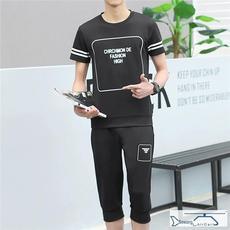 夏装高端时尚风格 型男腔调男士休闲套装短袖T恤套装运动套装特价