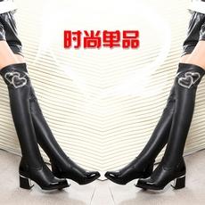 欧美长筒女靴过膝长靴子女冬季中跟粗跟尖头弹力高筒套筒骑士靴