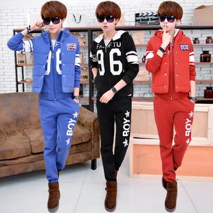 男士长袖连帽卫衣套装韩版青少年休闲运动潮男装加绒加厚男三件套