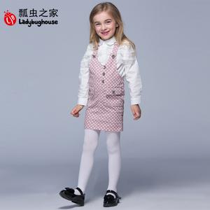 瓢虫之家女中童连衣裙春季新款女童波点棉背带裙韩版宝宝休闲裙子