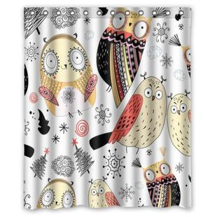 Strange owl lovely white custom Shower Curtain Bathroom deco