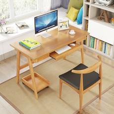 实木电脑桌台式家用学生宿舍小型电脑台带抽屉单人写字台北欧书桌