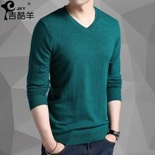 新款男士V领含羊毛青年纯色薄款针织衫春秋修身大码保暖套头毛衣
