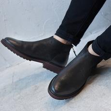 英伦男靴短靴马丁靴男真皮布洛克做旧高帮鞋男短筒靴子休闲皮靴男