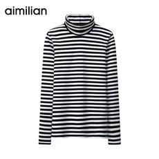 艾米恋黑白条纹t恤女长袖加厚棉上衣秋冬韩版学生修身高领打底衫