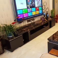 高档天然大理石台面电视柜可伸缩黑橡木客厅dsg小户型简约地柜195