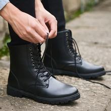 夏季男靴子英伦潮流马丁靴短靴军靴沙漠靴工装靴韩版高帮潮男皮靴