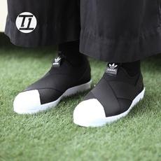Adidas三叶草 Superstar Slip on 黑白休闲鞋帆布鞋S81337/S81338
