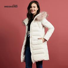 艾格 Weekend  冬季纯色休闲连帽带毛领羽绒服女160235004
