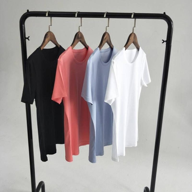 进口80支双面精梳丝光棉短袖白色t恤女夏装纯色修身打底衫上衣春