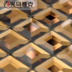 欧式茶色水晶玻璃五面磨边镜面马赛克密拼 电视背景墙KTV酒店瓷砖